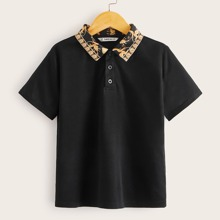Boys Scarf Print Collar Polo Shirt