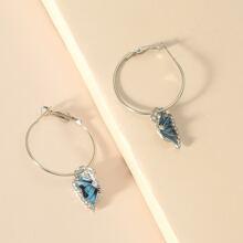 Rhinestone Decor Butterfly Drop Earrings