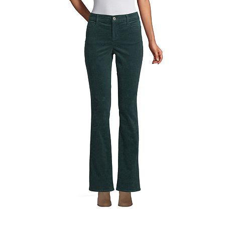St. John's Bay Womens Mid Rise Belly Bootcut Corduroy Pant, 8 , Green