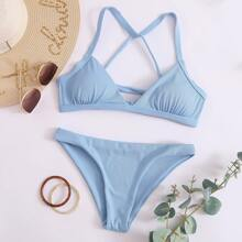 Gerippter Bikini Badeanzug mit Band hinten