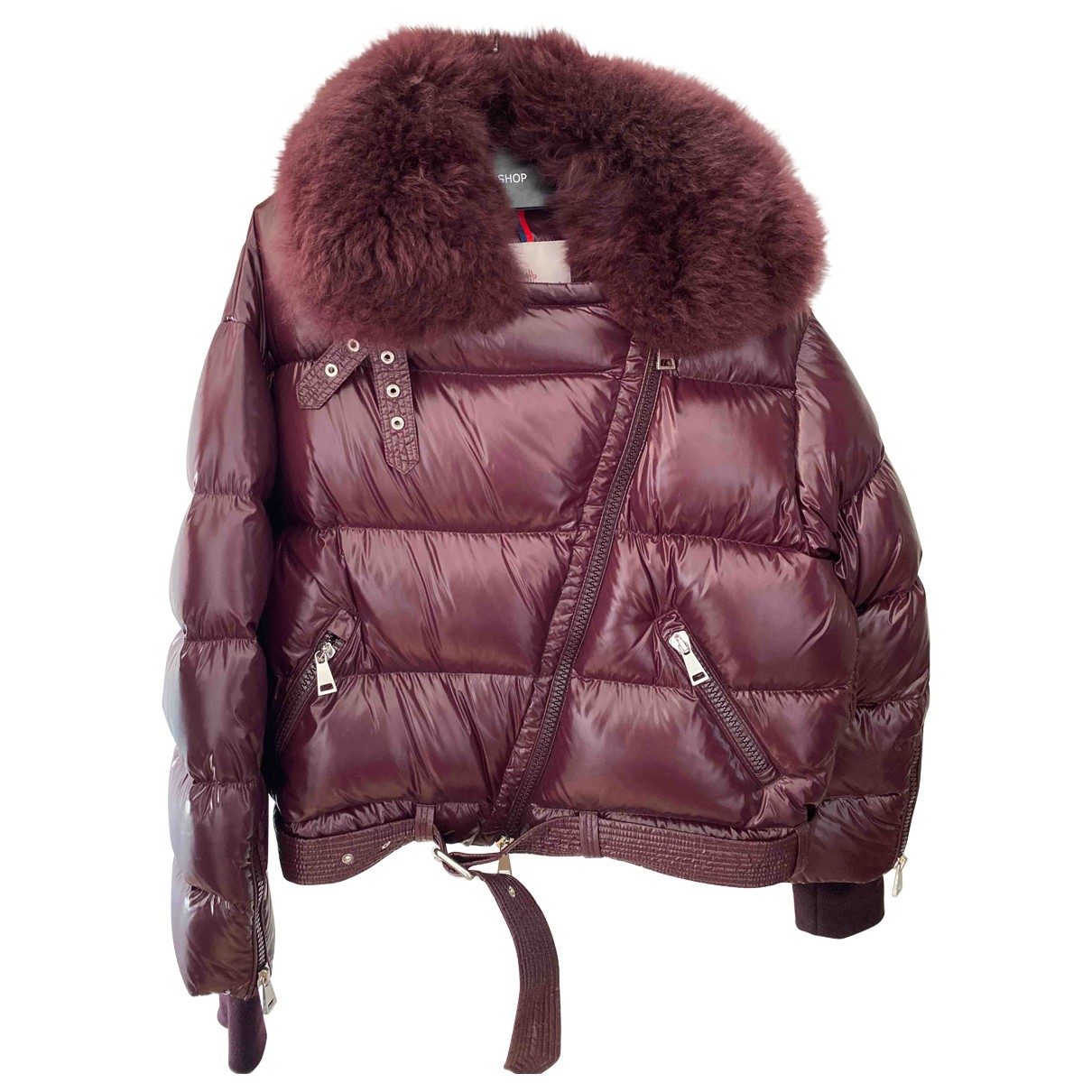 Moncler Fur Hood Burgundy jacket for Women S International