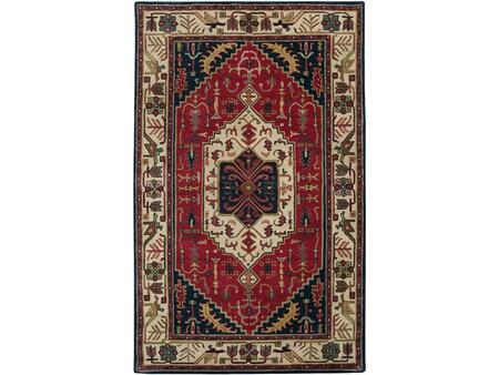 A134-58 5' x 8' Rectangular Ancient Treasures Ink Handmade Area Rug Made with 100% Semi-Worsted New Zealand Wool and Made in
