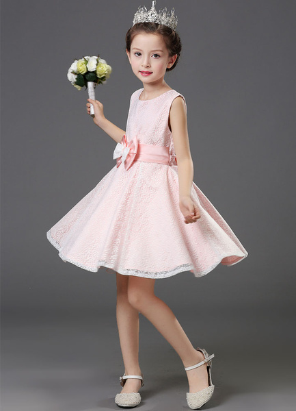 Milanoo Pink Flower Girl Dress Satin Bowed A-Line Sleeveless Toddler's Pageant Dress