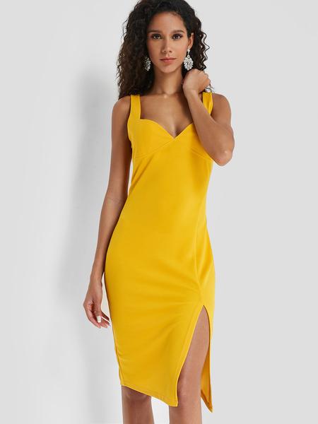 Yoins Yellow Strap Deep V Neck Dress