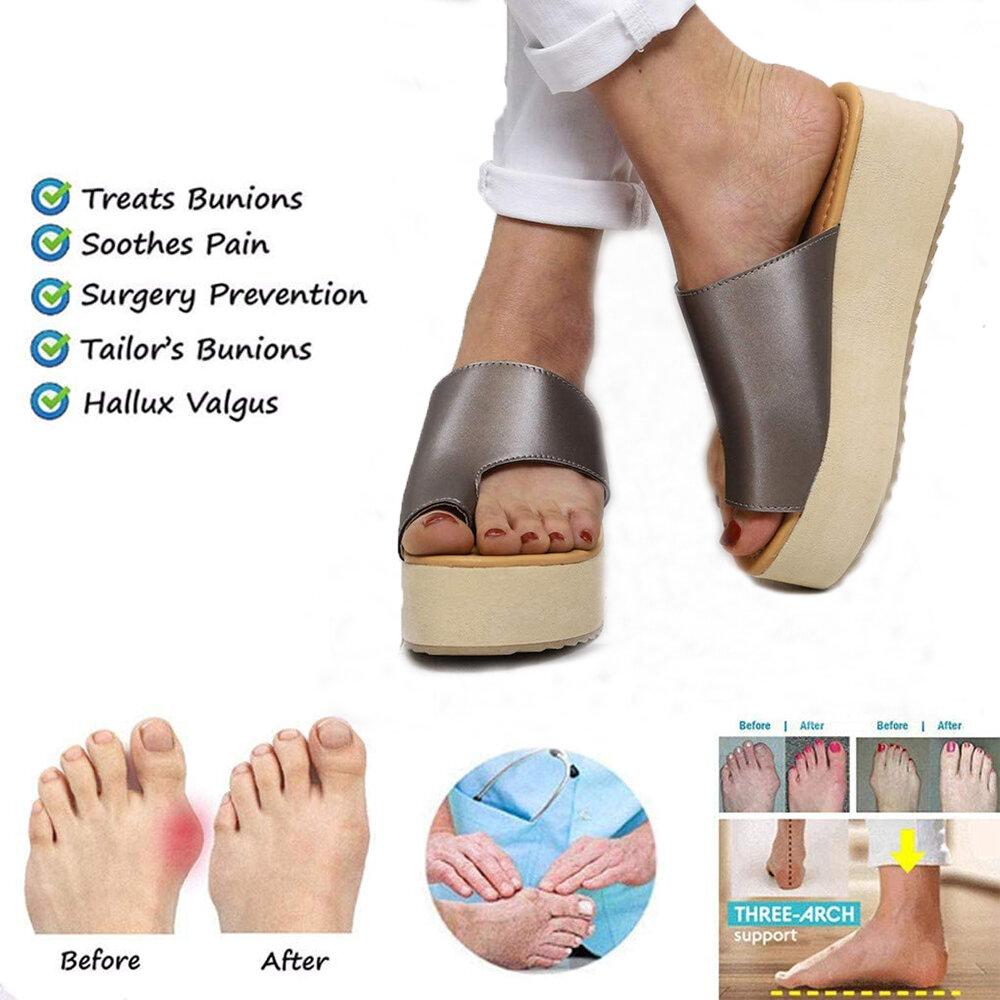 Women Casual Wearable Beach Casual Toe Ring Orthopedic Bunion Corrector Platform Slippers