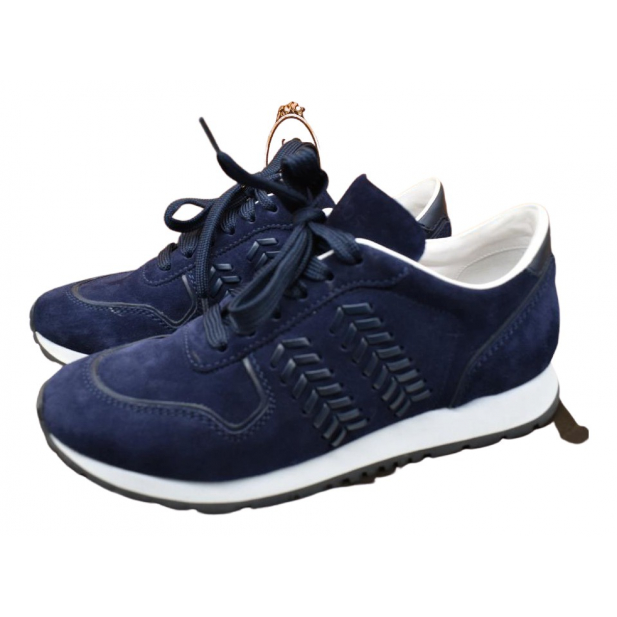 Tod's N Navy Suede Trainers for Women 38 EU
