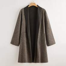 Plus Open Front Shawl Collar Dual Pocket Coat