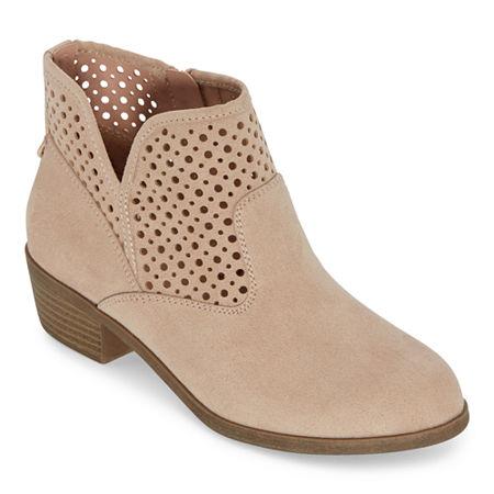 Arizona Womens Roberta Zip Block Heel Booties, 9 1/2 Medium, Beige