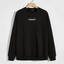 Maenner Sweatshirt mit Buchstaben Muster und sehr tief angesetzter Schulterpartie