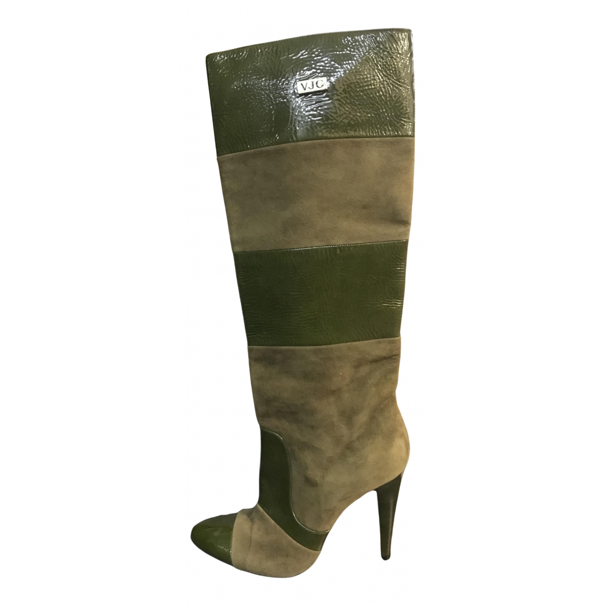 Versace Jeans N Green Leather Boots for Women 39 IT