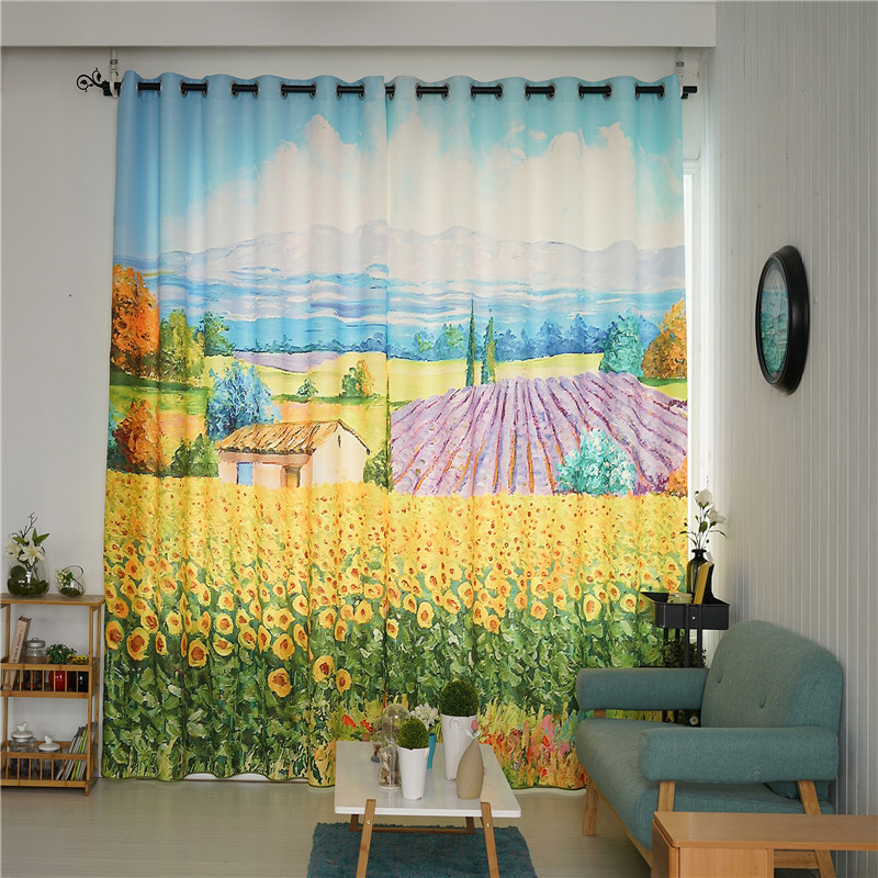 Decorative Polyester Digital Printing Yellow Cole Flowers and Pink Lavenders 2 Panels Curtain
