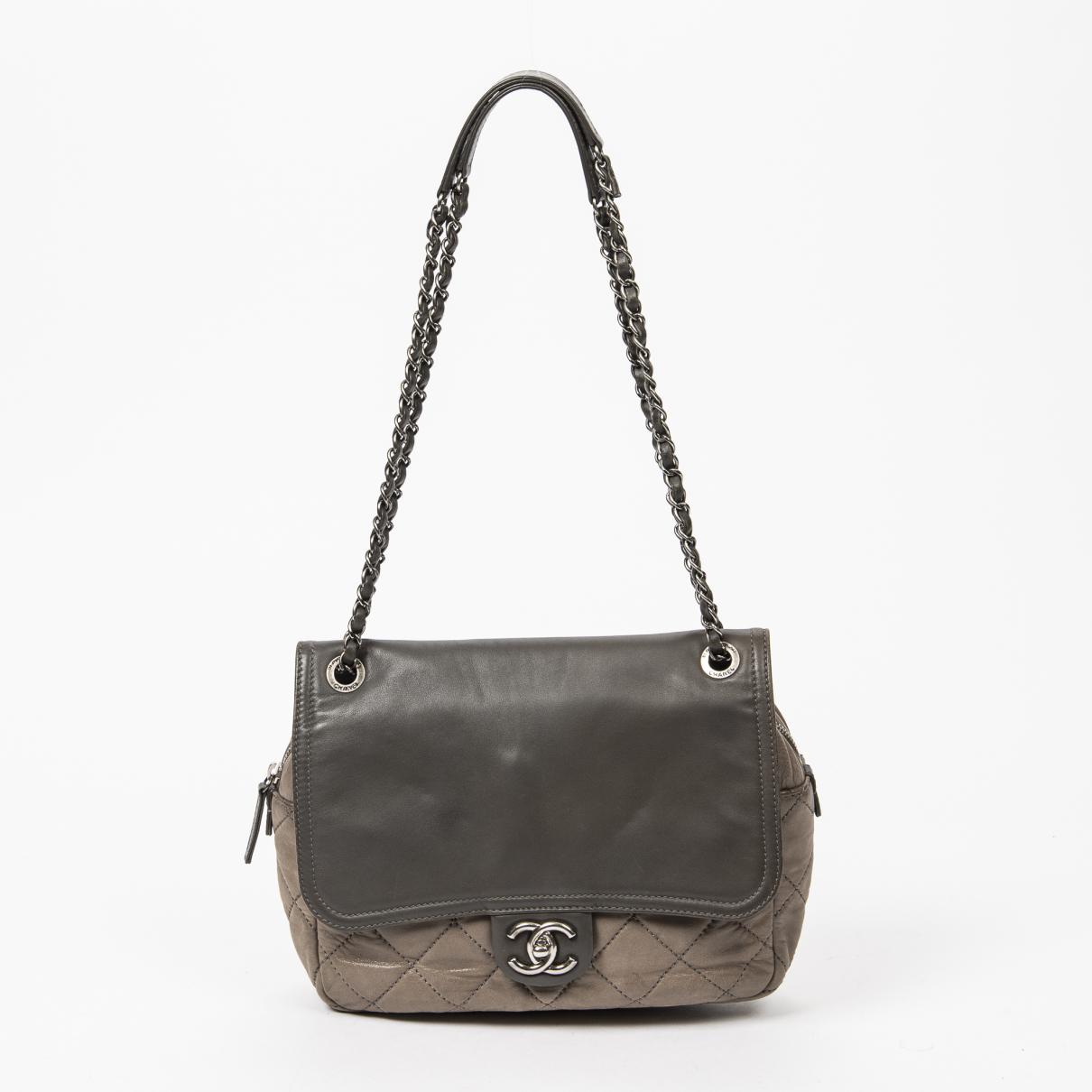 Chanel - Sac a main   pour femme en cuir - gris