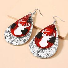 Christmas Deer Sequin Decor Drop Earrings