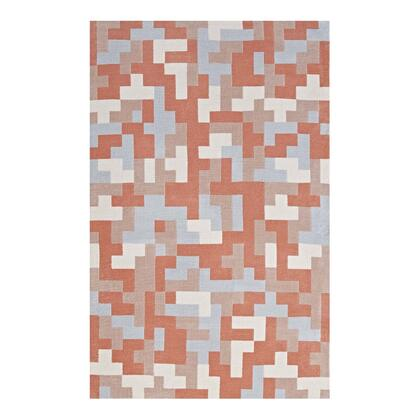 Andela Collection R-1022B-810 Interlocking Block Mosaic 8x10 Area Rug in Multicolored Coral and Light Blue