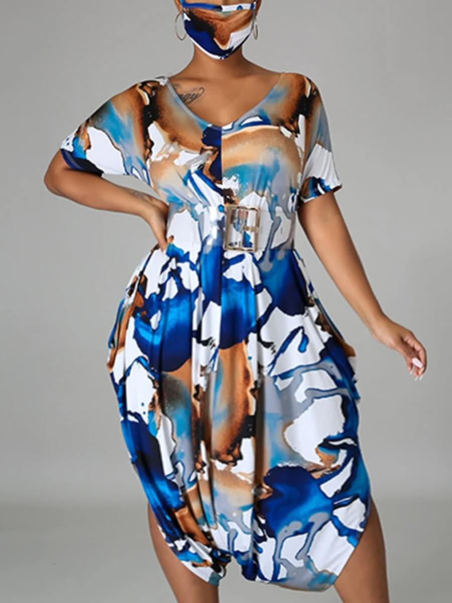 LW Lovely Stylish V Neck Print Blue Knee Length Plus Size Dress