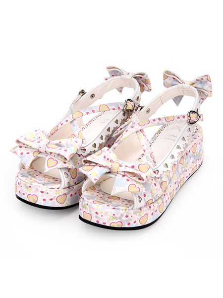 Milanoo Sweet Lolita Sandals Print Sweetheart Hollow Out Bow Blue Lolia Shoes