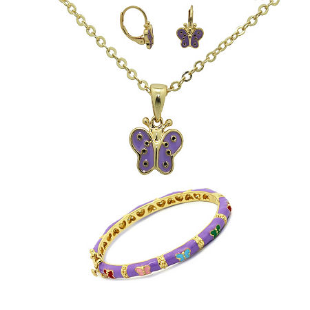 10K Gold Over Brass Butterfly 3-pc. Jewelry Set, One Size , No Color Family