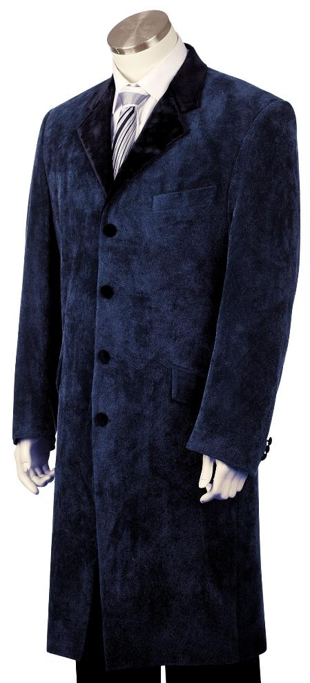 4 Button Stylish Navy Velvet Suit Mens
