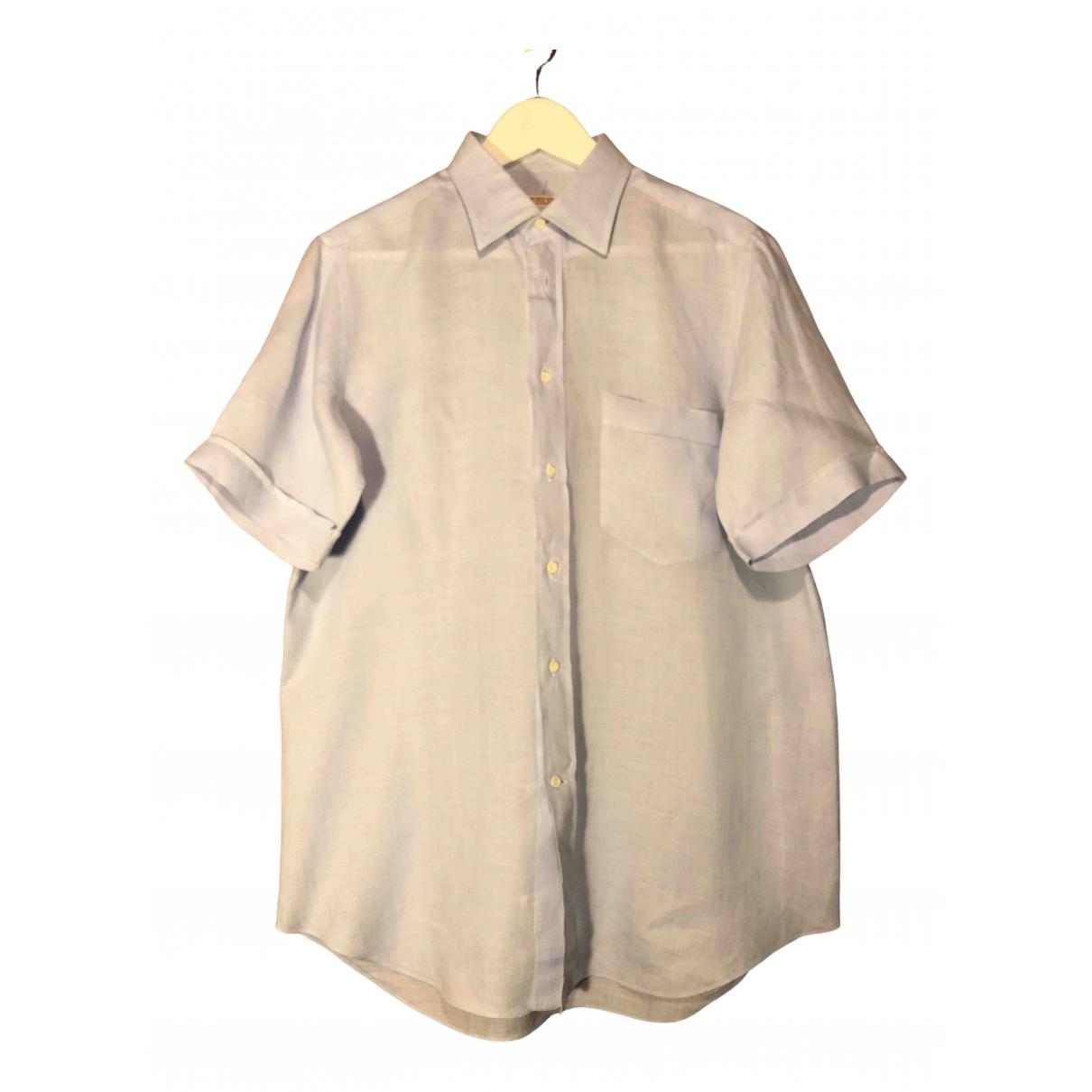 Non Signé / Unsigned \N Blue Linen Shirts for Men 41 EU (tour de cou / collar)