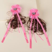 2pcs Toddler Girls Bow Wig Hair Clip