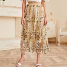 Embroidered Mesh Layered Skirt