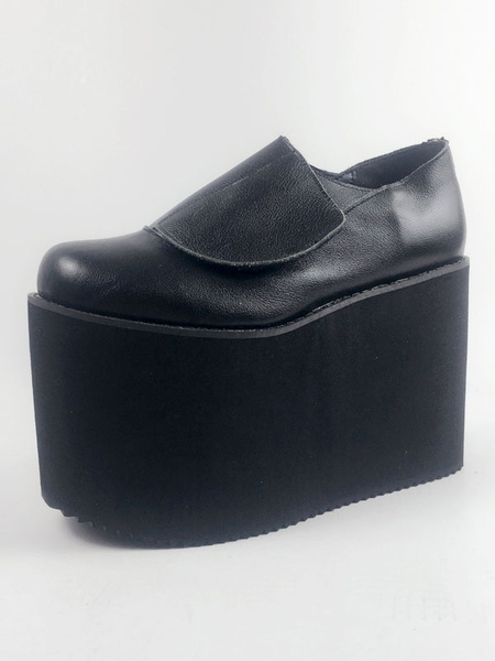 Milanoo Leather Lolita Shoes Round Toe Platform Black Lolita Shoes