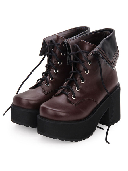 Milanoo Classic Lolita Boots Lace Up Two Tone Round Toe Platform Lolita Footwear