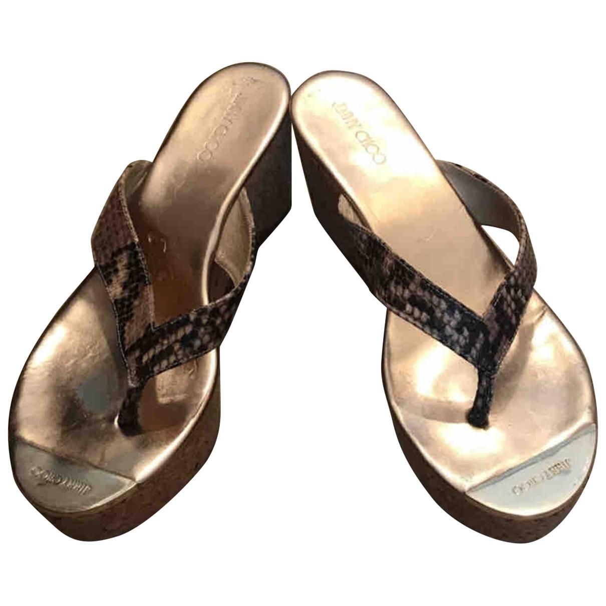 Jimmy Choo \N Sandalen in  Beige Wasserschlangen