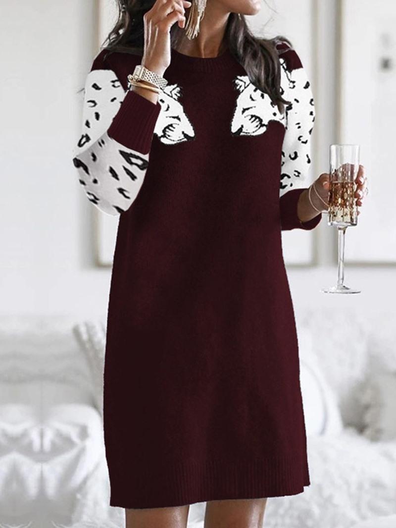 Ericdress Three-Quarter Sleeve Print Above Knee Casual Regular Dress