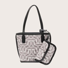 Double Handle Tote Bag With Purse