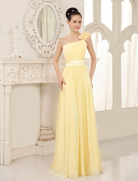 Milanoo Bridesmaid Dress Daffodil One Shoulder Chiffon Flowers Straps Pleated Floor Length Wedding Party Dresses