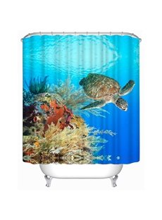 3D Turtle and Plants in Sea Polyester Waterproof Antibacterial and Eco-friendly Shower Curtain