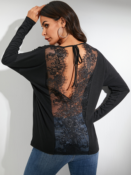 YOINS Lace Splice Backless Bat Sleeves Tee