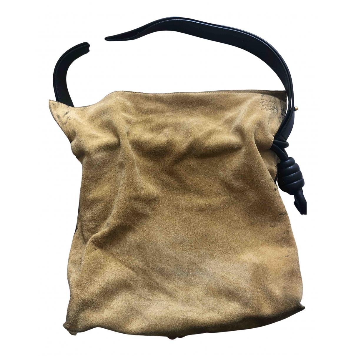 Loewe Flamenco Camel Suede handbag for Women N