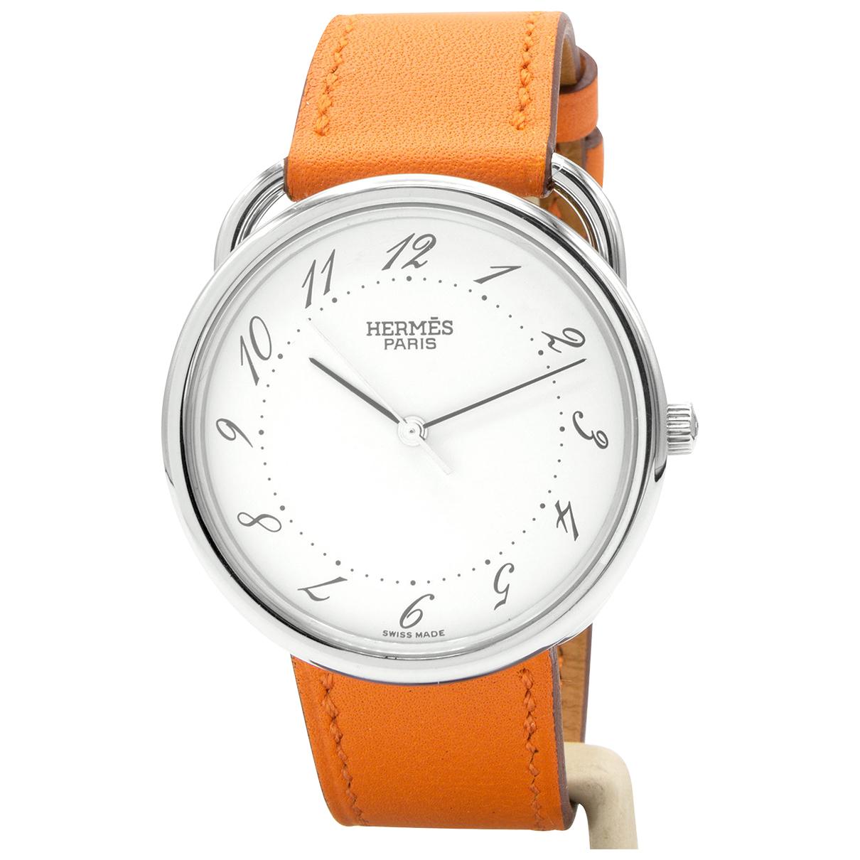 Hermes Arceau Uhr in  Orange Stahl