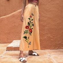 Floral & Butterfly Print Wide Leg Pants