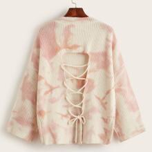 Lace Up Back Tie Dye Sweater