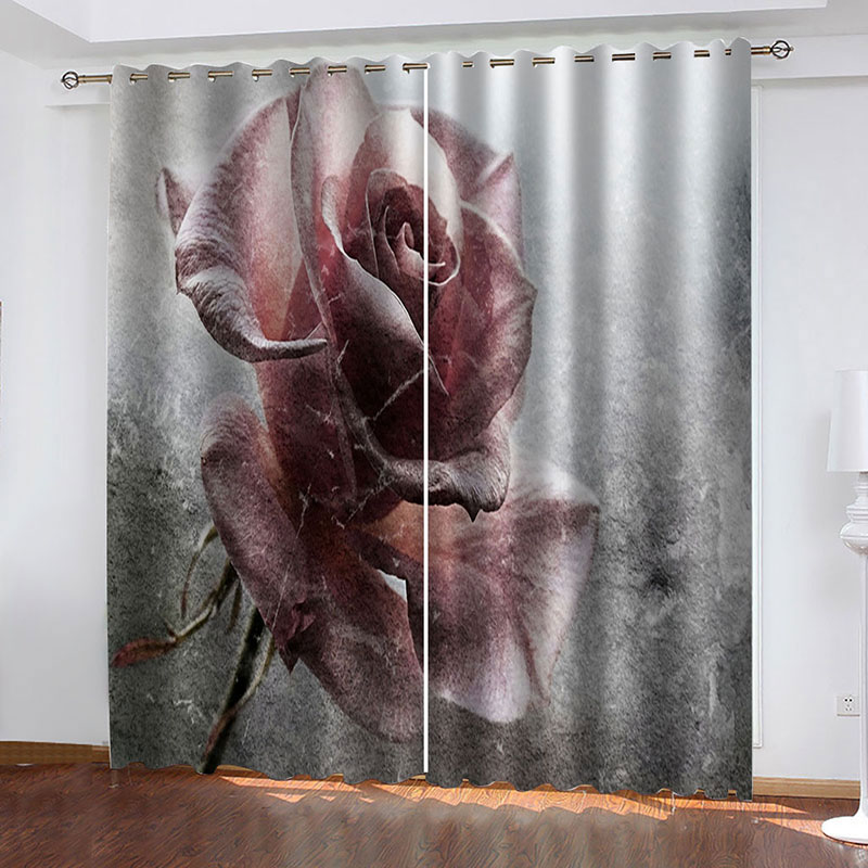 3D Rose Decoration Blackout Window Curtains for Living Room No Pilling No Fading No off-lining Drapes Blocks Out 80% of Light and 90% of UV Ray