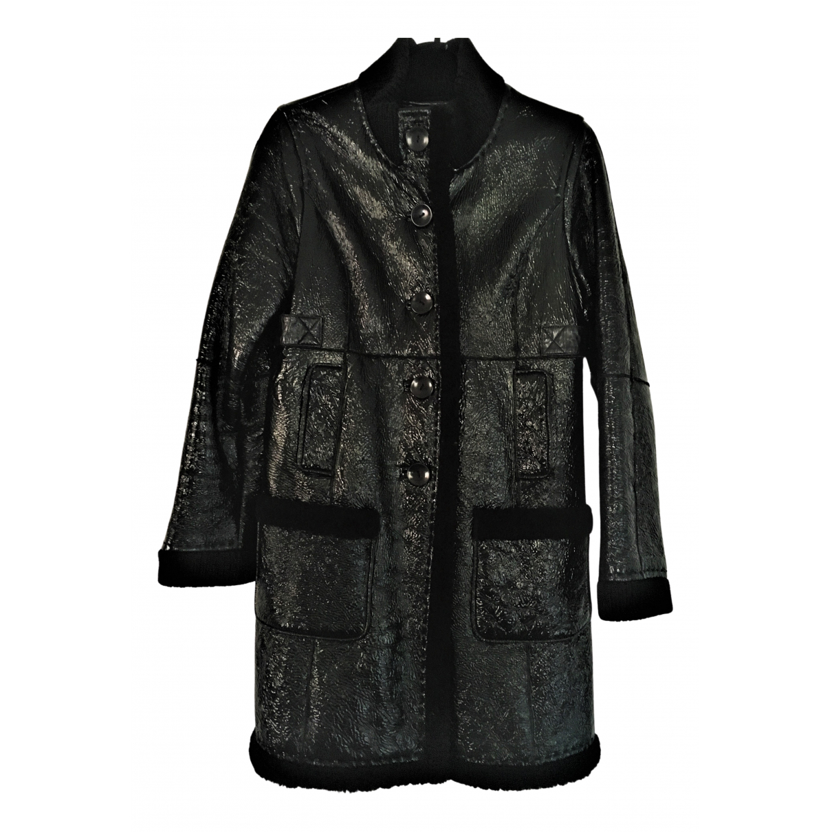 Essentiel Antwerp - Manteau   pour femme en cuir - noir