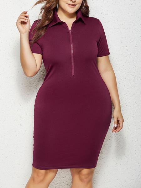 Milanoo Plus Size Bodycon Dress Half Zip Women Green Sheath Dress