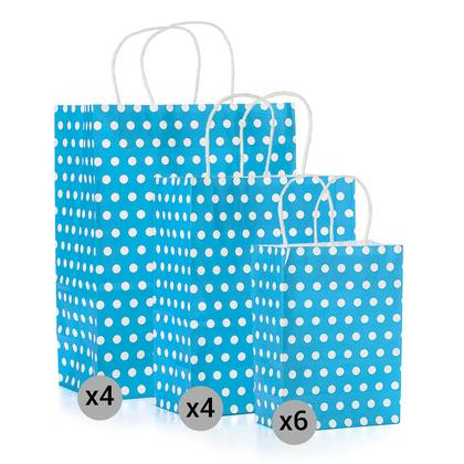 Ensemble de sacs à pois en papier kraft de 14 pièces, petit, moyen, grand, bleu- LIVINGbasics ™