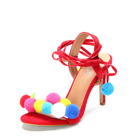Yoins Red Pom-pom Decorated Lace-up High Heels
