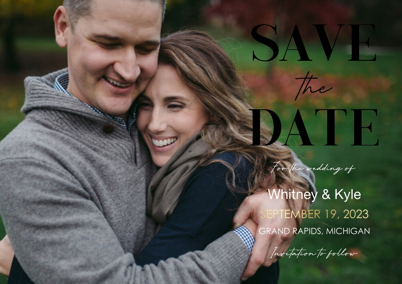 Wedding Set of 20, Premium 5x7 Foil Card, Card & Stationery -Save The Date Stack