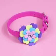 1pc Flower Decor Dog Collar