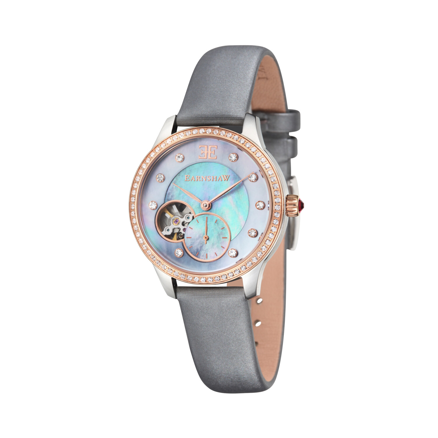 Thomas Earnshaw Women's Lady Australis ES-8029-05 Silver Leather Hand Wind Fashion Watch
