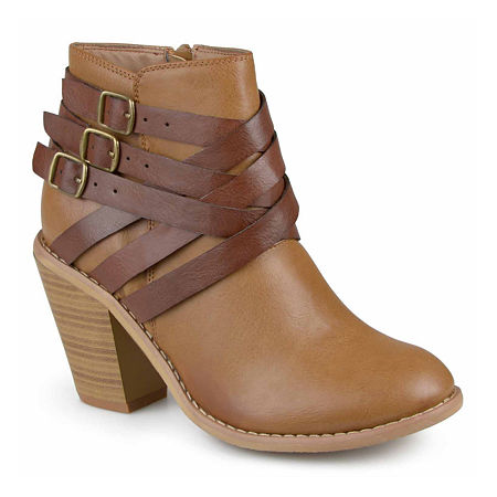 Journee Collection Womens Strap Booties Stacked Heel, 10 Wide, Brown