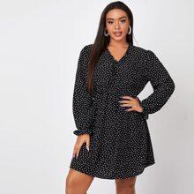 Plus Polka Dot Flounce Sleeve A-line Dress
