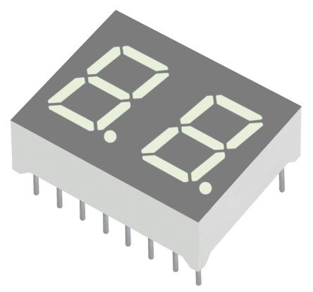 Kingbright DC04-11SURKWA  2 Digit 7-Segment LED Display, CC Red 54 mcd RH DP 10mm (5)