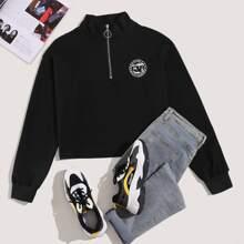 Sweatshirt mit Abzeichen Muster und halbem Reissverschluss