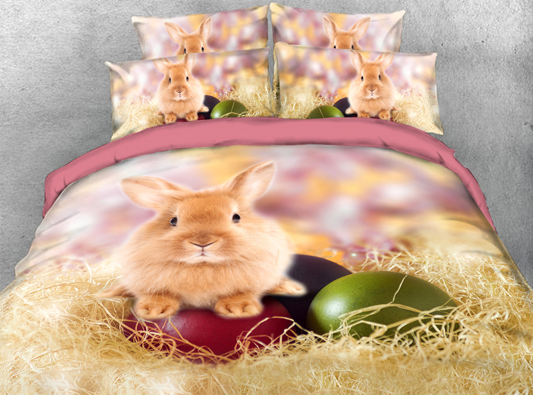 Easter Egg and Rabbit 4pcs 3D Animal Zipper Durable Bedding Sets No-fading Soft Reactive Printing Duvet Cover with Ties